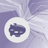 在紫色抽象现代背景的飞艇象 线四面八方 您的广告的室 库存照片