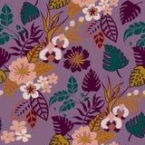 在紫色的热带植物无缝的样式,雨林热带叶子重复的样式Backround 库存例证