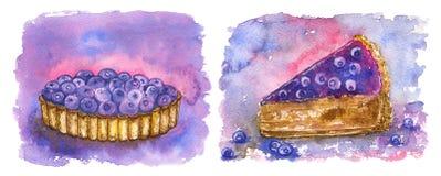 在紫色的蓝莓甜点:果子馅饼和蛋糕 免版税库存图片