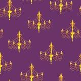 在紫色背景的枝形吊灯剪影 模式无缝的向量 皇族释放例证