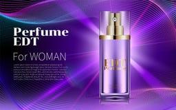 在紫色背景的香水玻璃瓶商品广告现实构成 豪华化妆用品 现代的设计 库存照片