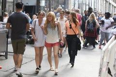 在繁忙的晴朗的星期天,砖车道的游人 免版税库存照片