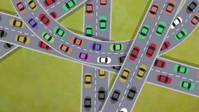 在繁忙运输驾车的顶视图在交叉点在高峰时间-使成环 向量例证