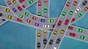 在繁忙运输驾车的顶视图在交叉点在高峰时间-使成环 库存例证