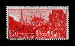 在红场的劳动节游行在莫斯科,大约1947年, 免版税库存图片