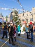 在红场的圣诞节假期在莫斯科 免版税库存图片