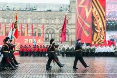 在红场的游行在莫斯科 图库摄影