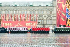 在红场的游行在莫斯科 库存图片