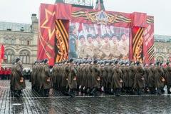 在红场的游行在莫斯科 免版税库存照片