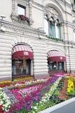 在红场的花在莫斯科 图库摄影