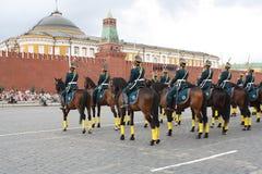 在红场的马游行 库存图片