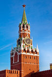 在红场的Spasskaya塔在莫斯科,俄罗斯 库存照片