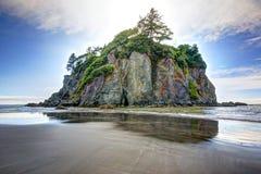 在红宝石海滩的海堆在华盛顿州 库存图片