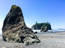 在红宝石海滩,奥林匹克国家公园的岩石 免版税图库摄影