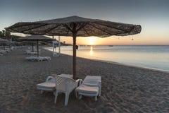 在红海的日出从洪加达 图库摄影