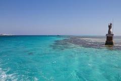 在红海的灯塔 库存照片
