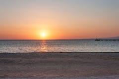 在红海的美好的日出 库存图片