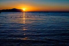 在红海的美好的日出 库存照片