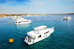 在红海的马达游艇在港口 免版税图库摄影