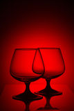 在红灯的两块玻璃 免版税库存照片