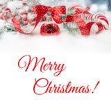 在红色与圆点,文本空间的华丽圣诞节边界 免版税库存图片