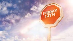 在红色交通标志的星期五第13文本 免版税库存图片