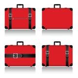 在红色例证设置的旅行手提箱 免版税库存图片