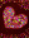 在红色光谱的美好的心脏形状背景 库存照片