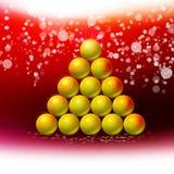 在红色冬天背景的抽象圣诞树 免版税图库摄影