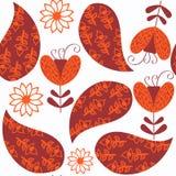 在红色和橘黄色的佩兹利无缝的样式 它位于样片菜单,传染媒介 库存照片