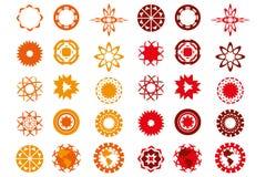 在红色和橙色颜色的各种各样的商标设计被隔绝在丝毫 库存图片