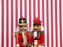 在红色和白色条纹的胡桃钳 免版税库存照片
