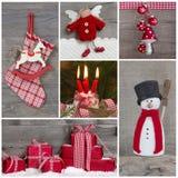 在红色和白色的经典圣诞节装饰与雪 拼贴画 库存图片