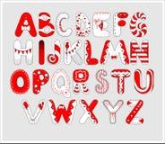 在红色和白色颜色的生日快乐字母表您的设计的 也corel凹道例证向量 免版税库存图片