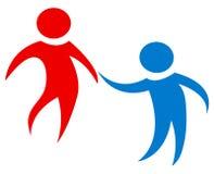 在红色和蓝色的团队工作形象 简单和干净的设计 女性男塑造一一起击出二运作 库存例证