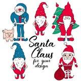 在红色和蓝色的圣诞老人 向量例证