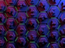 在红色和蓝色的抽象六角形蜂窝背景 免版税库存照片