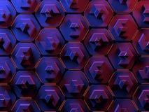 在红色和蓝色的抽象六角形蜂窝背景 图库摄影