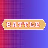 在红色和蓝色背景的争斗文本 经典流行音乐艺术样式争斗介绍 半色调印刷纹理,红色和蓝色角落 皇族释放例证