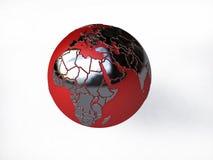 在红色和银的地球 向量例证
