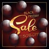 在红色和黑背景的金子黑星期五销售上写字 免版税图库摄影