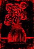 在红色和黑色绘画的玫瑰 免版税库存照片