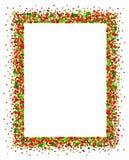 在红色和绿色的五彩纸屑框架 免版税库存照片