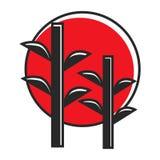 在红色圈子的竹子 皇族释放例证