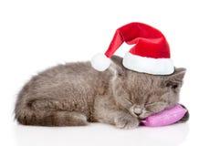 在红色圣诞节帽子的小猫睡觉在枕头的 在白色 库存图片