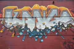 在红色墙壁上的抽象街道画在波特兰,俄勒冈 免版税库存照片
