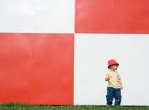 在红色墙壁白色附近的子项 库存图片