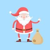 在红色外套和帽子字符的滑稽的动画片圣诞老人与与礼物的一个袋子 库存照片
