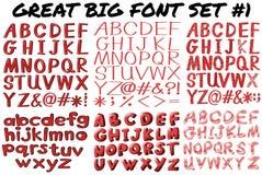 在红色大胆的英国字体 免版税库存照片
