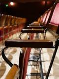 在红色天鹅绒剧院椅子的图表照片 库存照片